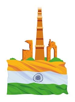 Edifício indiano monumentos ícone dos desenhos animados