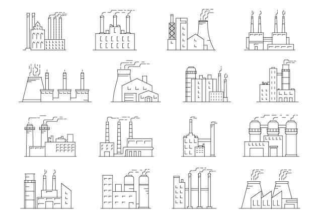 Edifício industrial linear chaminé de fábrica com contorno de tubos industriais de fumaça