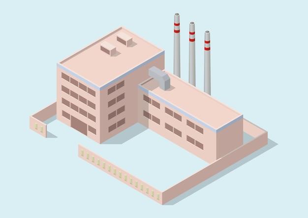 Edifício industrial simples isométrico