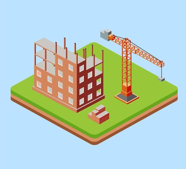 Edifício industrial urbano com guindastes de construção e casas construídas em perspectiva isométrica