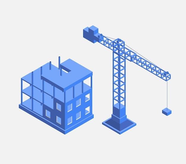 Edifício industrial urbano com guindastes de construção e construção de casas, um carro feito em perspectiva em azul