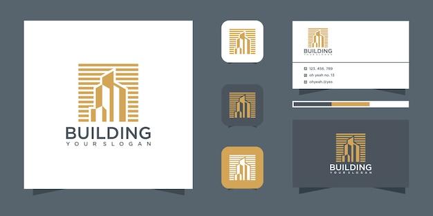 Edifício inspirador com estilo de arte de linha, logotipo dourado e cartão de visita