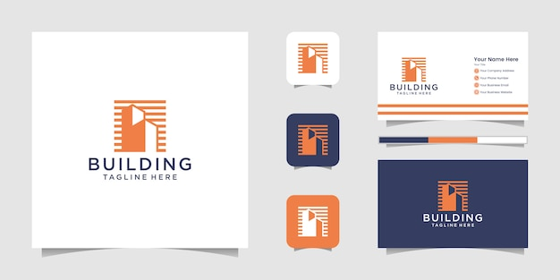 Edifício inspirador com linha arte estilo logotipo e cartão de visita