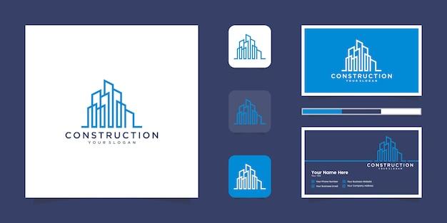 Edifício inspirador com logotipo premium de estilo de arte de linha e cartão de visita