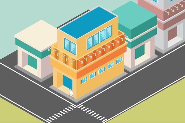Edifício isométrico com muitas lojas