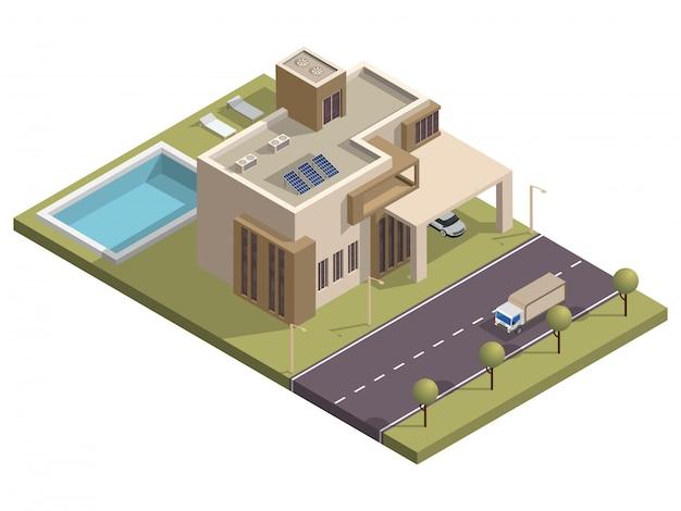 Edifício isométrico com piscina e estacionamento ao longo da rua de transporte.