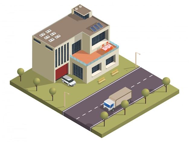 Edifício isométrico com vista para o quintal e rua de transporte