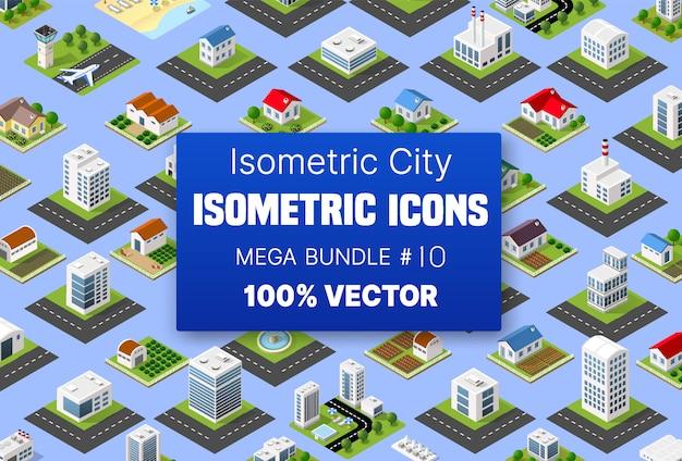 Edifício isométrico conjunto abriga ícones do módulo de blocos