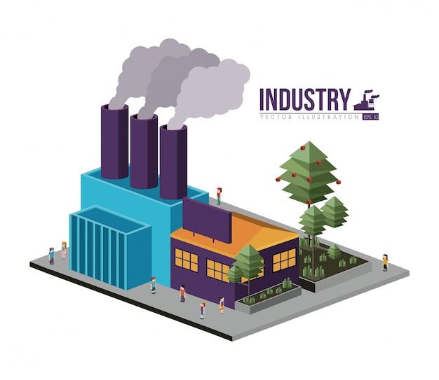 Edifício isométrico da indústria