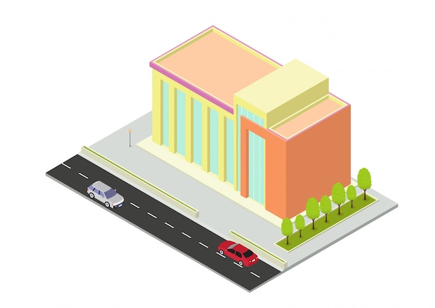 Edifício isométrico de hotel, apartamento, escola ou arranha-céu