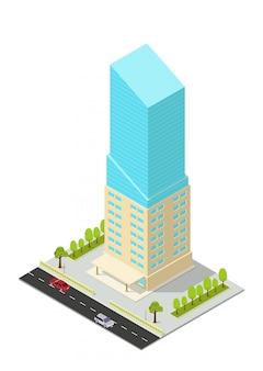 Edifício isométrico de hotel, apartamento, escritório ou arranha-céu
