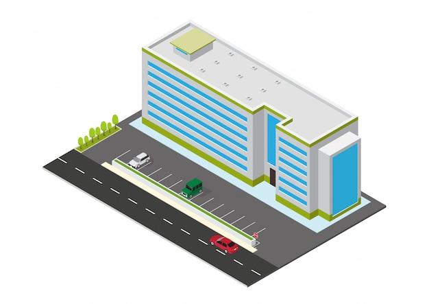 Edifício isométrico de hotel, apartamento ou arranha-céu