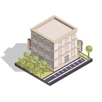 Edifício isométrico de hotel ou albergue isolado no branco