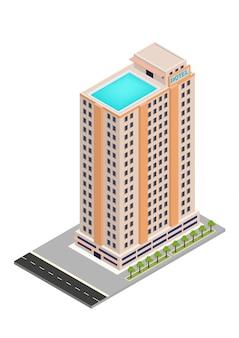 Edifício isométrico de hotel ou arranha-céu