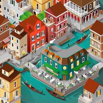Edifício isométrico de veneza e atividade de pessoas