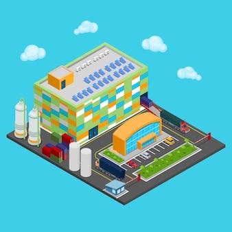Edifício isométrico do armazém com área de transporte industrial. indústria de carga.