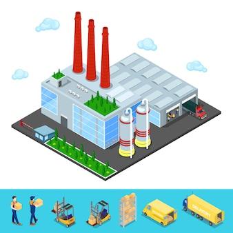 Edifício isométrico do armazém com área de transporte industrial.