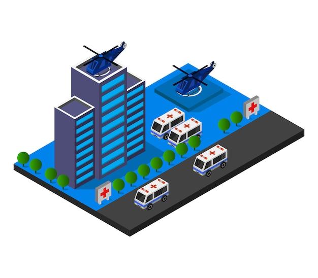 Edifício isométrico do hospital Vetor Premium