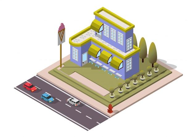 Edifício isométrico do restaurante