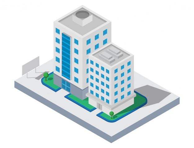 Edifício isométrico. dois que constroem na jarda com estrada. edifício 3d, cidade inteligente
