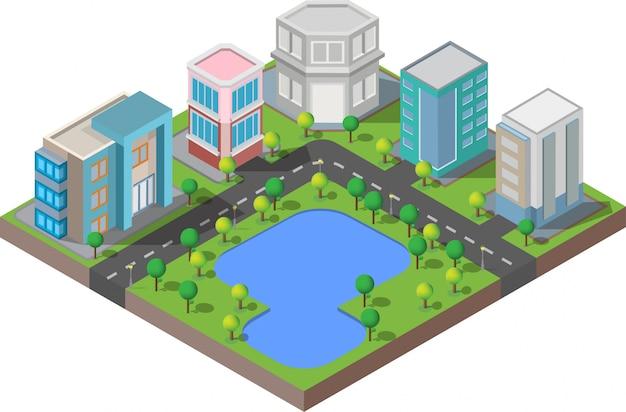 Edifício isométrico. eles estão no quintal com estrada e árvores. cidade inteligente e parque público