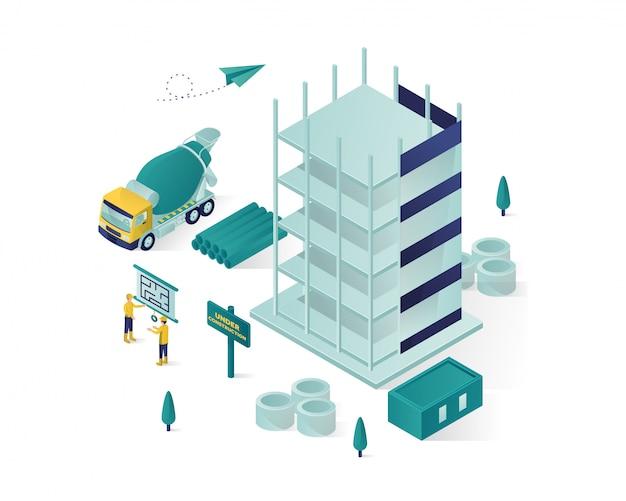 Edifício isométrico em construção