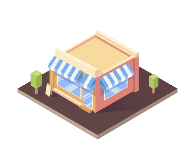 Edifício isométrico isolado café ou loja.