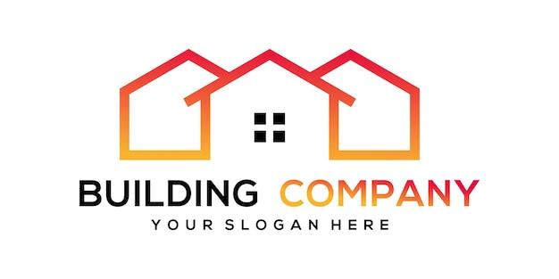 Edifício moderno abstrato com ilustração do logotipo do estilo line art