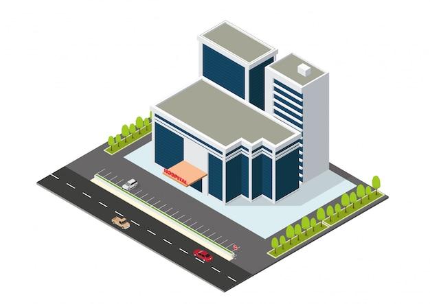 Edifício moderno hospital isométrico