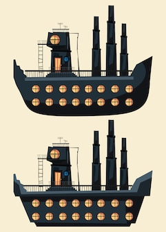 Edifício na ilustração em vetor conjunto navio