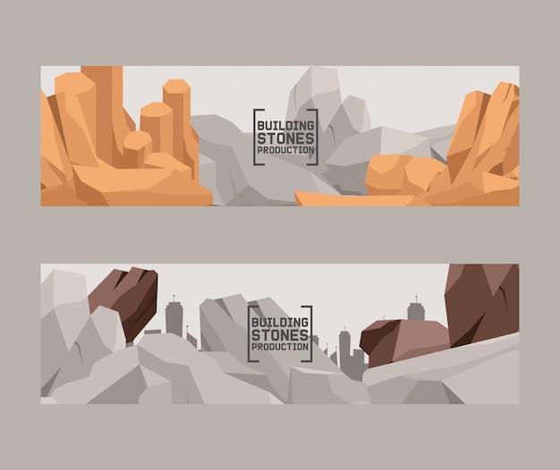 Edifício pedras produção cartoon plana conjunto de banners.