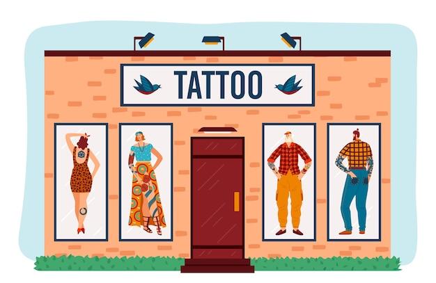 Edifício plano de desenho animado com personagens de mulher homem hipster tatuados