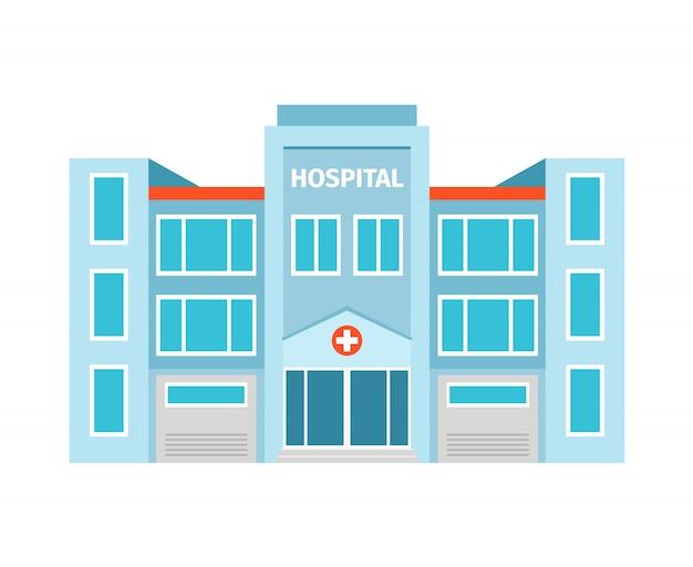 Edifício plano de hospital isolado. ilustração vetorial