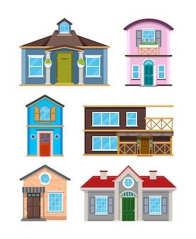 Edifício residencial moderno abriga coleção de vetores de desenhos animados