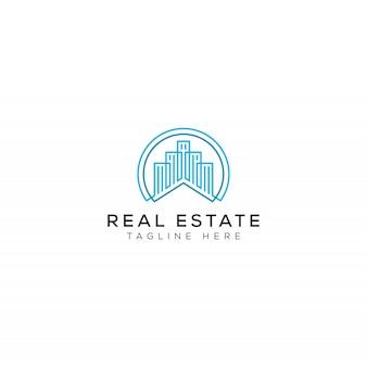 Edifício simples e moderno e minimalista, para design de logotipo de empresas imobiliárias