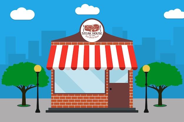 Edifício steak house grill restaurant, fachada com letreiro e lâmpadas de rua de carne