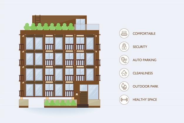 Edifício urbano de vetor plana e instalações de ícone para condomínio.