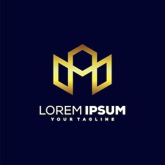 Edifício, vetor de design de logotipo de luxo do horizonte