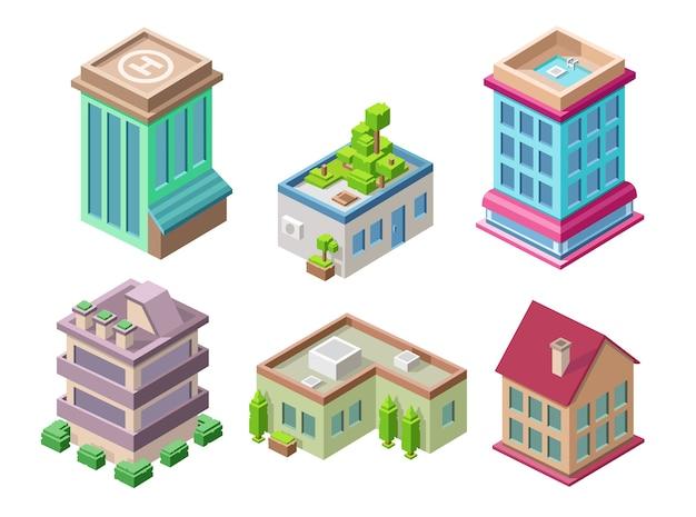 Edifícios 3d isométricos