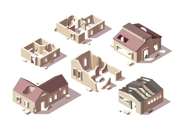 Edifícios abandonados. cidade de casas quebradas isométrica arruinou objetos objetos arquitetônicos conjunto.