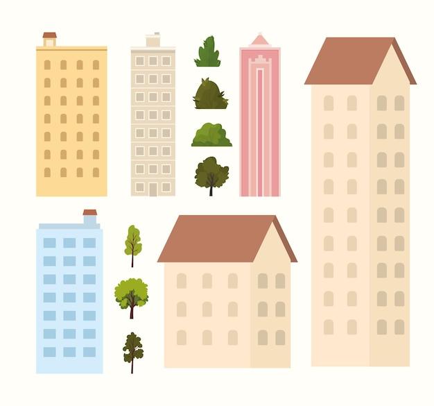 Edifícios, árvores e arbustos em uma ilustração de fundo branco