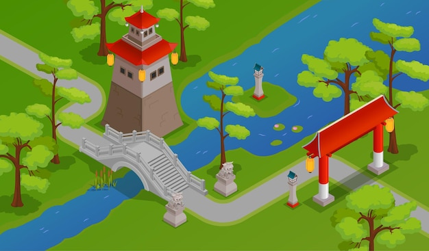 Edifícios asiáticos constroem uma ponte sobre o rio e a ilustração isométrica da paisagem