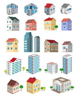 Edifícios com diferentes tipos de perspectiva.
