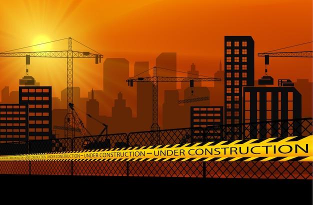 Edifícios, com, guindastes