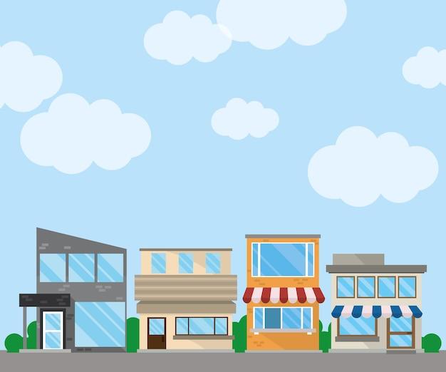 Edifícios comerciais de rua