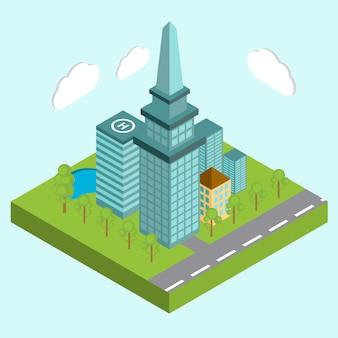 Edifícios da área da cidade do centro de negócios isométricos