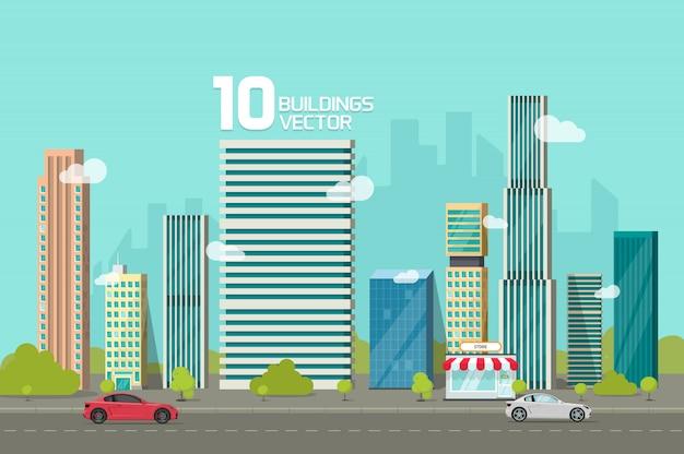 Edifícios da cidade ao longo da estrada de rua ou paisagem urbana