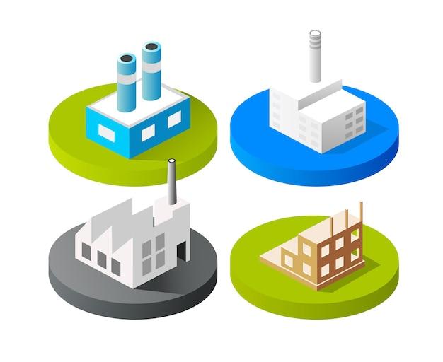 Edifícios da cidade do ícone 3d do vetor isométrico para o conjunto de conceitos da web que inclui a casa Vetor Premium