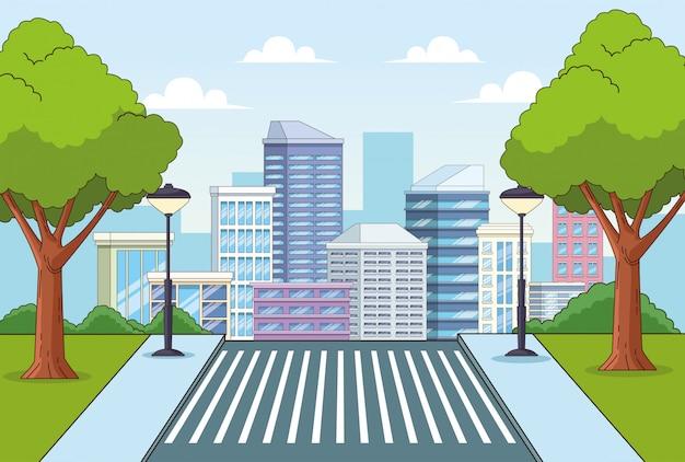 Edifícios da cidade e parque com cenário de árvores