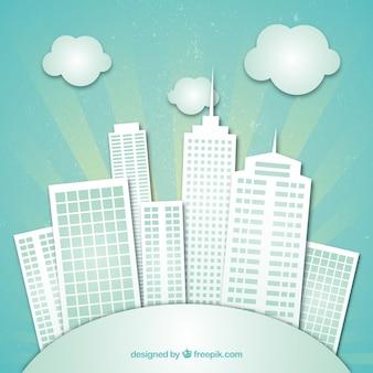 Edifícios da cidade feita de papel